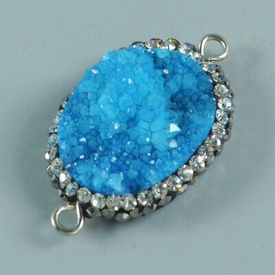 Oval Blue Agate Druzy Geode Pave Zircon Connector T075209
