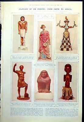 Old Print Statuary Colour Egyptian Greek Roman Mexican African Crete 1921 20th