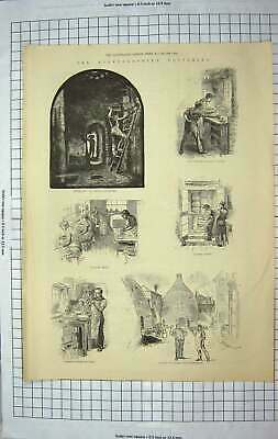 Old Antique Print 1884 Staffordshire Potteries Parian Figures Oven-House 19th