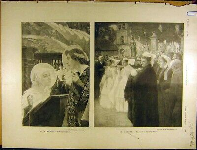 Original Old Antique Print 1902 Maxence Guiner Fine Art French Rixens 20th