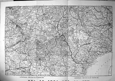Antique Old Print Map Seat War Covers Prussia Saxony Wurtemberg Rhine 1870