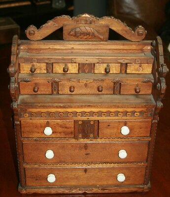 Rare 19th century Tramp Art carved minature chest of draws DATED 1898