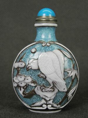 Chinese Hawk Plum Blossom Bird Carved Peking Overlay Glass Snuff Bottle