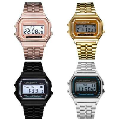 Men Stainless Steel Band LCD Digital Wrist Watch Sport Square Quartz IS 01