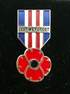 NEW 2019 Remembrance Day UK Military Ribbon Red Poppy Enamel Pin Badge Brooch