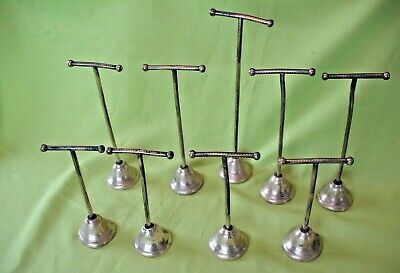 9 old antique brass T - Bar Shop Display Stands ideal for jewellery shoes etc