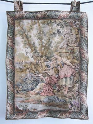 "Beautiful French Verdure Style Tapestry 27"" X 21"" Wall Hanging   d"