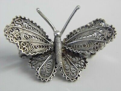 Beautiful Vintage Sterling SIlver Filigree Butterfly Brooch Stamped 925