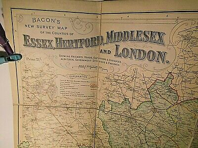 Essex,Hertford,Middlesex,London-1900-1910 Bacon's Large Bespoke Map:owner Covers