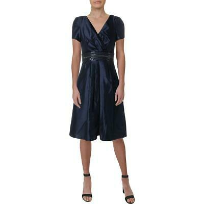 2448fbd246d JS Boutique Womens Navy Embellished Pleated Party Cocktail Dress 4 BHFO 1647