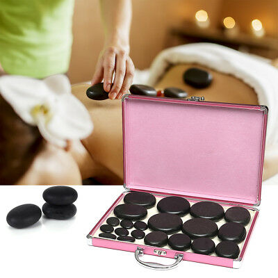 20 PCS Hot Basalt Stone For SPA Massage Skin Relief Therapy + Heating Box Set AU