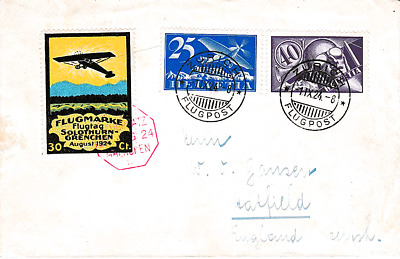 Switzerland 1924 Solothurn-Grenchen Aviation Meeting flown cover, 30c Air Label
