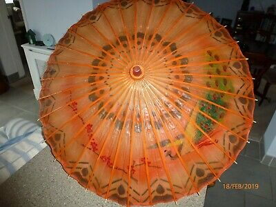 Vtg Japanese  Waxed  Paper With Bamboo Hand Painted Umbrella Parasol