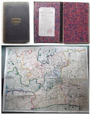 1870 Cruchley Linen backed Large Map LONDON Surrey Kent Essex Oxfordshire Bucks