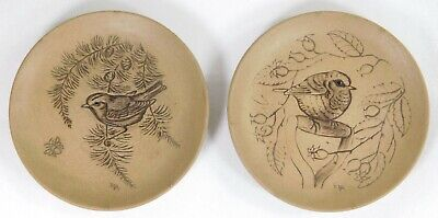 Pair Poole Pottery Barbara Linley Adams Stoneware Bird Plates Robin & Goldcrest