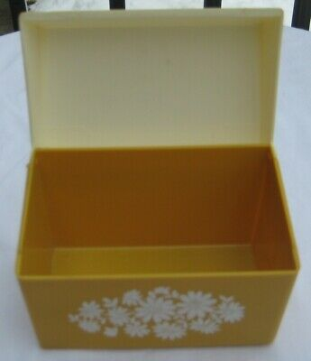 Vintage Recipe Box 1970's Harvest Gold With White Flowers Plastic