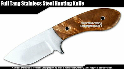 Full Tang Fixed Blade Hunting Knife with Leather Sheath Light Burl Wood