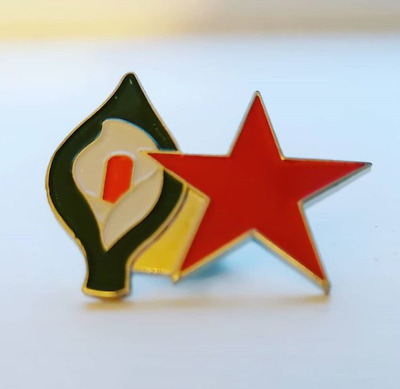 Red Star Easter Lily Pin Badge - Irish Republican Marxist Socialist Communist