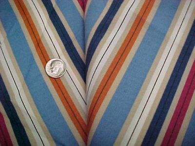 2+ Yds Vintage Rayon Fabric Dress Silky Blend Fabric 1960s Era STRIPES Blue +