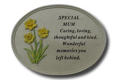 Free Standing Mum Daffodil Memorial Plaque with Inspirational Verse
