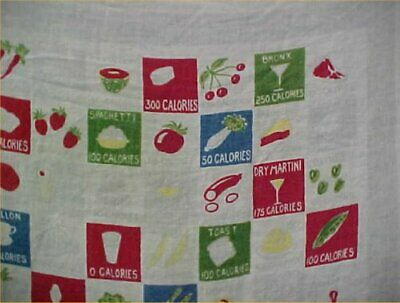 Vintage Tablecloth Printed Linen Calories Food 1960s Era Find Crafts 48x48""