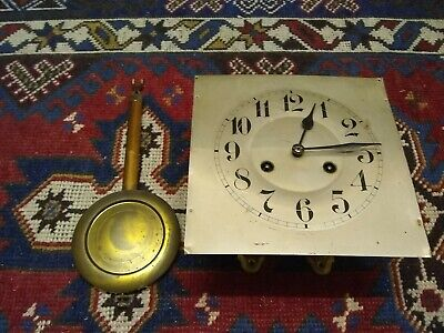 Junghans Wall Clock mechanical clock movement plus 20cm sq metal Face & pendulum