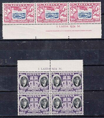LITHUANIA,1934 Mi 386, 387 NH STRIP OF 3 AND  BLOCK OF 4 WITH SHEET INSCRIPTIONS