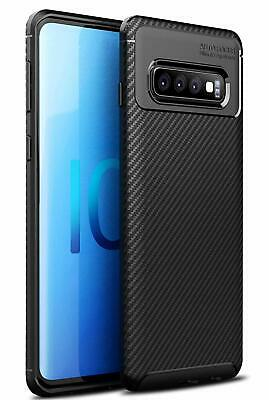 housse etui coque effet carbone silicone tpu pour galaxy s10 / s10 plus / s10e