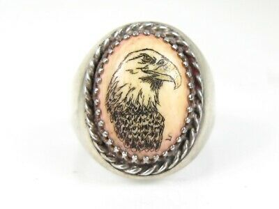 Vintage Sterling Silver Agate Hand Painted Bald Eagle Mens Ring 16.1g