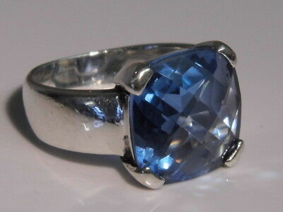 Stunning Art Deco Style 6ct Topaz Solid Sterling Silver Ring UK size M 1/2 7.2g