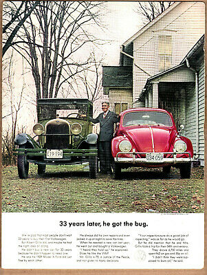 "1963 VW Volkswagen Beetle Ad ""33 years later...."" Model A Ford Print Ad"