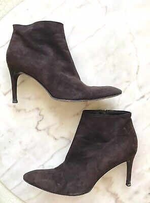 25ba78ed YVES SAINT LAURENT YSL Gray Suede High Heel Ankle Boots Lace Up ...
