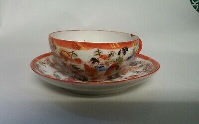 Antique Rose Medallion Delicate Porcelain Small Cup And Saucer