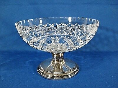 Antique Hawkes Cut Glass Crystal Sterling Silver Serving Bowl