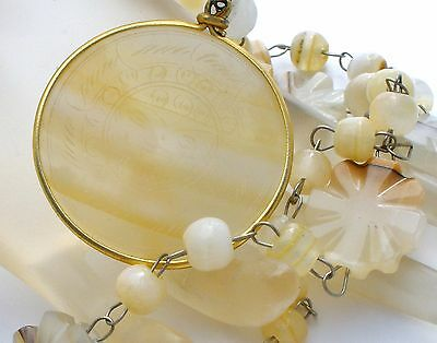 "Vintage Aztec Sun Pendant Necklace Alabaster Beads Hand Carved Agate 23"" Long"