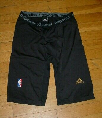 NBA Adidas Men Techfit Adipower Base Layer Compression Shorts BLK XLT Authentic