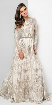 920b71e3 Long Sleeve Lace Embroidered Wedding Dress/Evening Gown by Terani Couture  Size 4