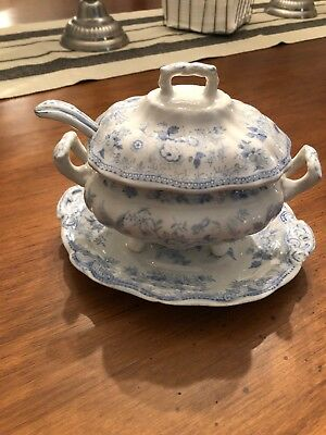 Vintage English China Soup/gravy Tureen Soup Tureen w/Lid & Platter And Spoon
