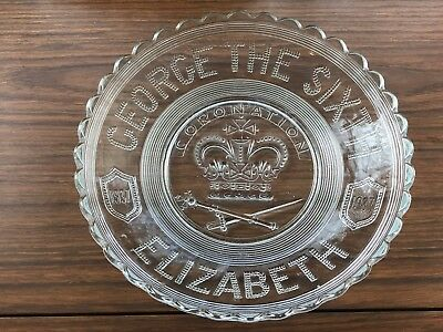 "Vintage-9"" Glass Bowl-George The Sixth & Elizabeth Coronation 1937-King Queen"