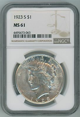1923-S MS61 Peace Silver Dollar $1 US Mint Better Date NGC MS-61