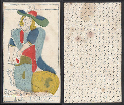 Original 18th century playing card carte a jouer Spielkarte Tarot La Forza