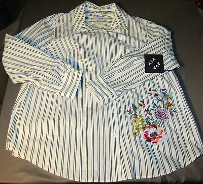 8b4cff5778b NEW Ava   Viv Button Striped Shirt Floral Embroidery Long Sleeve Women s  Plus 2X