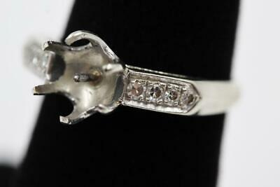 Incredible Vintage 14K White Gold 6 Old Cut Diamonds Size 7 Semi-Mount For Pearl