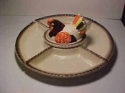 6 pc. Metlox Poppytrail Red Rooster Lazy Susan No Wood Base