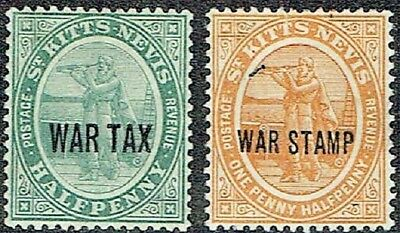 St Kitts- Nevis 1916-18 Opt.war Tax Both Mlh As Is See Scan