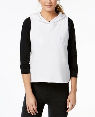 e2762765d2d3d Calvin Klein Performance Relaxed Cropped Sleeveless Hoodie Workout White L   65