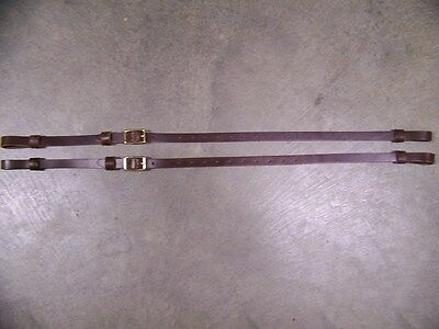 Leather Luggage Straps for Luggage Rack Carrier 2 Set 3/4 Inch Wide Brown Brass