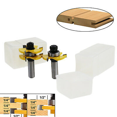 W2 2pcs 1/2 Inch Shank Matched Tongue And Groove Assembly Joint Router Bit Set