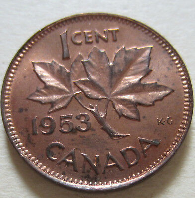 1953 Canada Small Cent Coin. Double 53 Variety UNC. RED GEM NICE GRADE (RJ839)