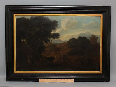Large Antique 18thC Italian Continental Landscape & Figures Oil Painting, NR